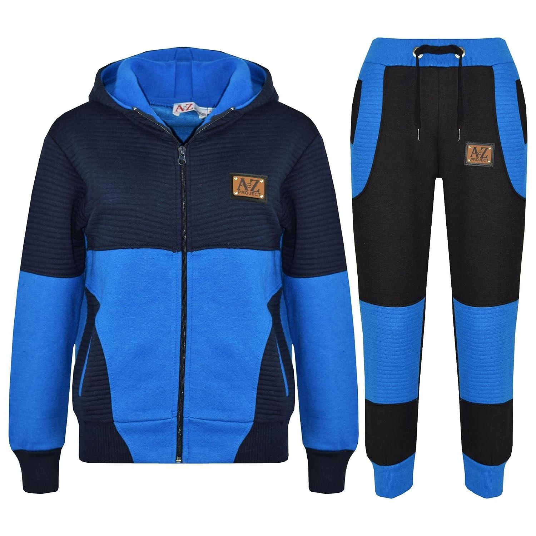 A2Z/® Boys Girls Jogging Suit Kids Designer Royal /& Navy Tracksuit Zipped Top /& Bottom