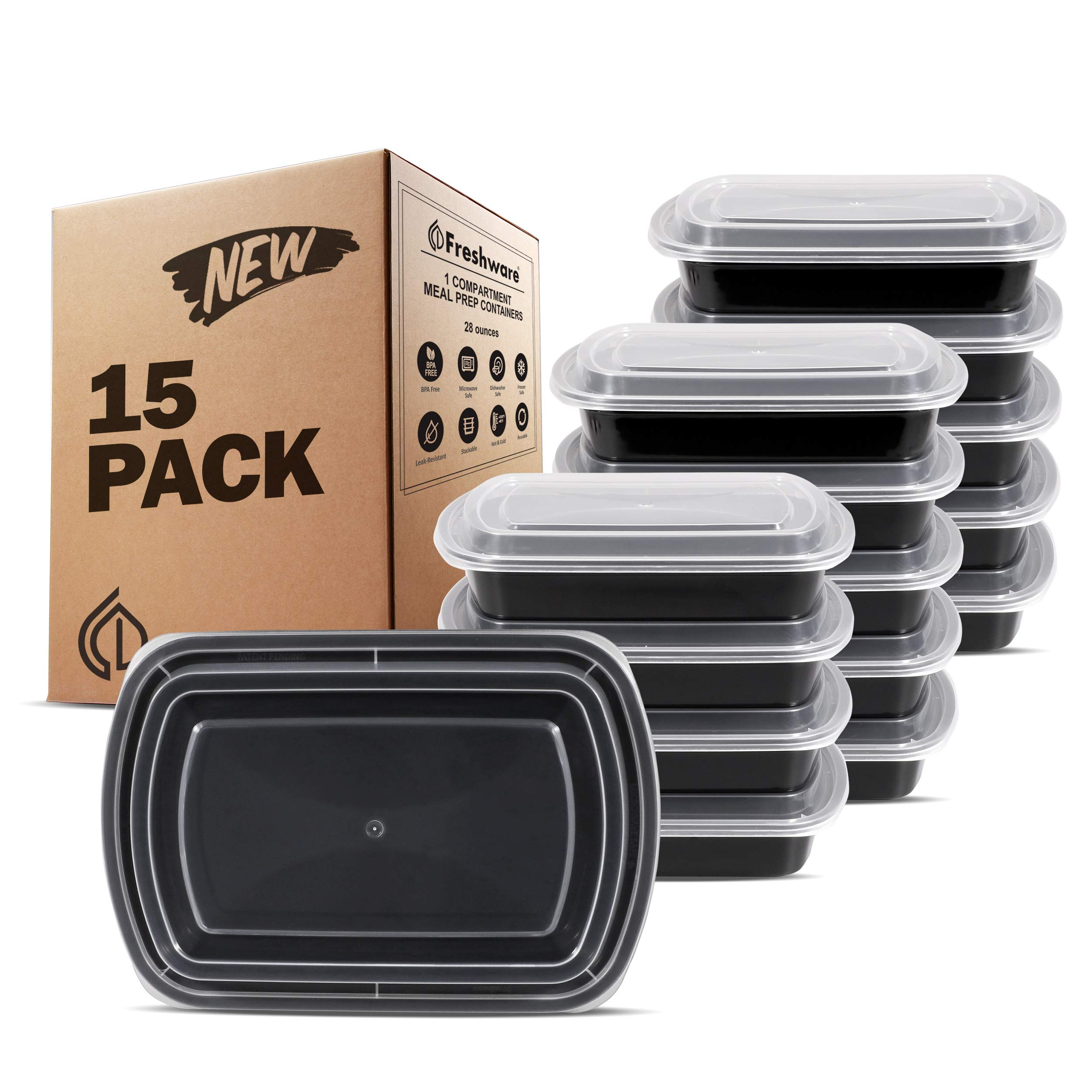 Freshware Meal Prep Containers [15 Pack] 1 Compartment with Lids, Food Storage Containers Bento Box | BPA Free | Stackable | Lunch Boxes, Microwave/Dishwasher/Freezer Safe (28 oz) by Freshware