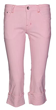 New Womens Denim Stretch Cropped Trouser Ladies Pants Jeans Pink 3//4 Length 6-14
