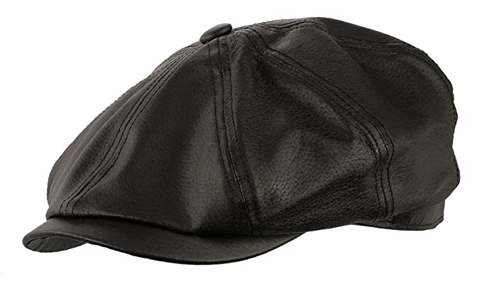 5e895a6c083e7 Genuine Leather Gatsby newsboy Cap Golf IVY Driving Hat (Medium ...