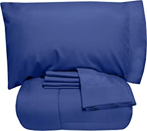 Sweet Home Collection 7 Piece Comforter Set Bag Solid Color All Season Soft Down Alternative Blanket & Luxurious Microfiber Bed Sheets, Queen, Royal Blue