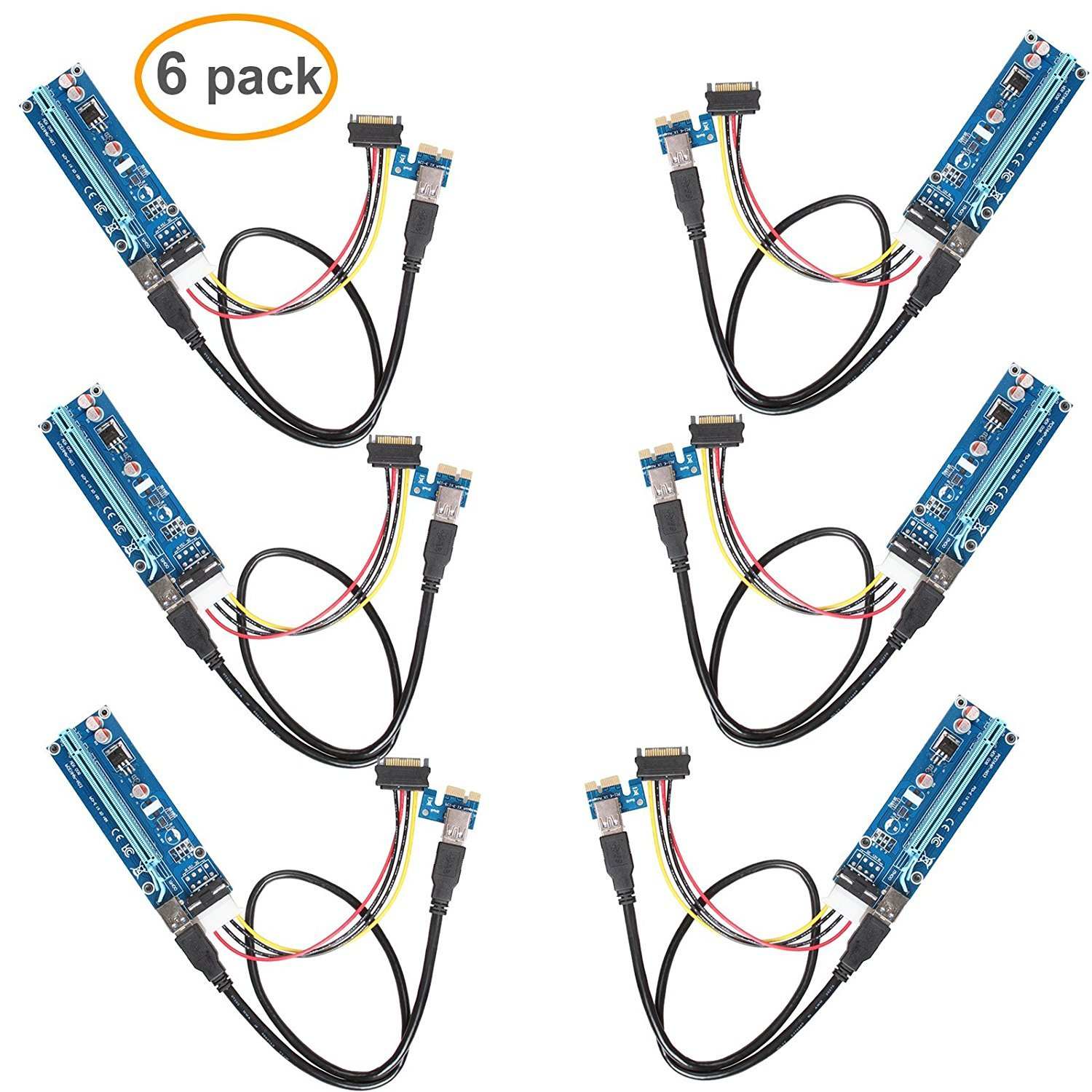 LINESO 6Pack PCIe VER 006 PCI-E 1X to 16X Powered Riser Adapter Card w/60 cm USB 3.0 Extension Cable & MOLEX to SATA Power Cable - GPU Riser Adapter Ethereum Mining ETH (6-Pack V006)