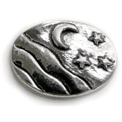 Moon Stars - Serenity : Pocket Token or Lucky Novelty Coin, One Inch, Handcrafted Lead-Free Pewter: Toys & Games