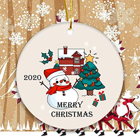 Keepsake Christmas Ornament 2020 Snowman Christmas Tree Ornament Funny Ornament Flat Round Ceramic Ornament For Christmas Tree Christmas Decor Gift Kitchen Dining