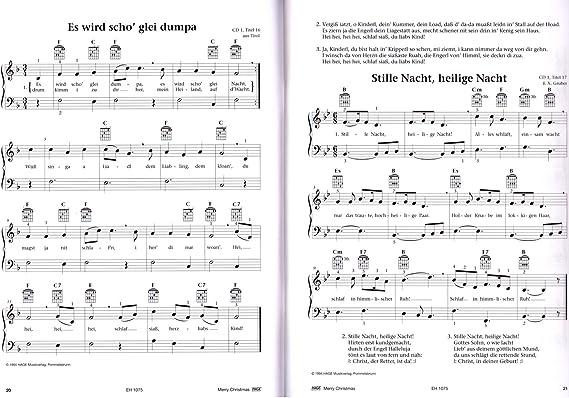 Merry Christmas – 45 más populares y mejores canciones de Navidad para piano, teclado o guitarra – con Bunter herzförmiger Ordenador Pinza: Amazon.es: Instrumentos musicales