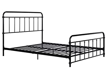 wallace metal bed frame in black with vintage headboard and footboard no box spring required - Metal Bed Frame With Headboard