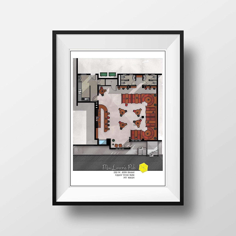 Amazon Com How I Met Your Mother Floor Plan Famous Tv Show Floor Plan Modern Art Poster For Maclaren S Pub Layout Tv Show Poster Handmade