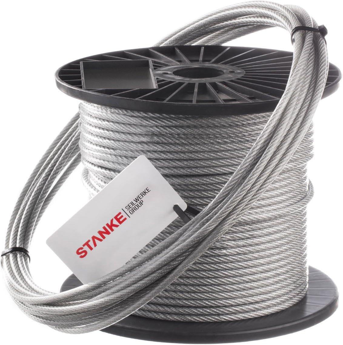 Seilwerk STANKE C/âble en Acier Inoxydable en PVC 4 mm 7x7 Cordage en Acier Inoxydable INOX V4A A4