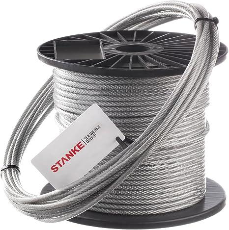 PVC Drahtseil /& Zubehör Stahlseil 1-4mm Transparent Kausche Klemme Seile SET