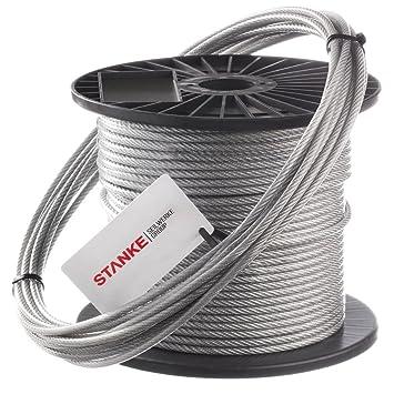 Seilwerk STANKE 50m PVC Drahtseil 4mm 6x7 verzinkt PVC ummantelt ...
