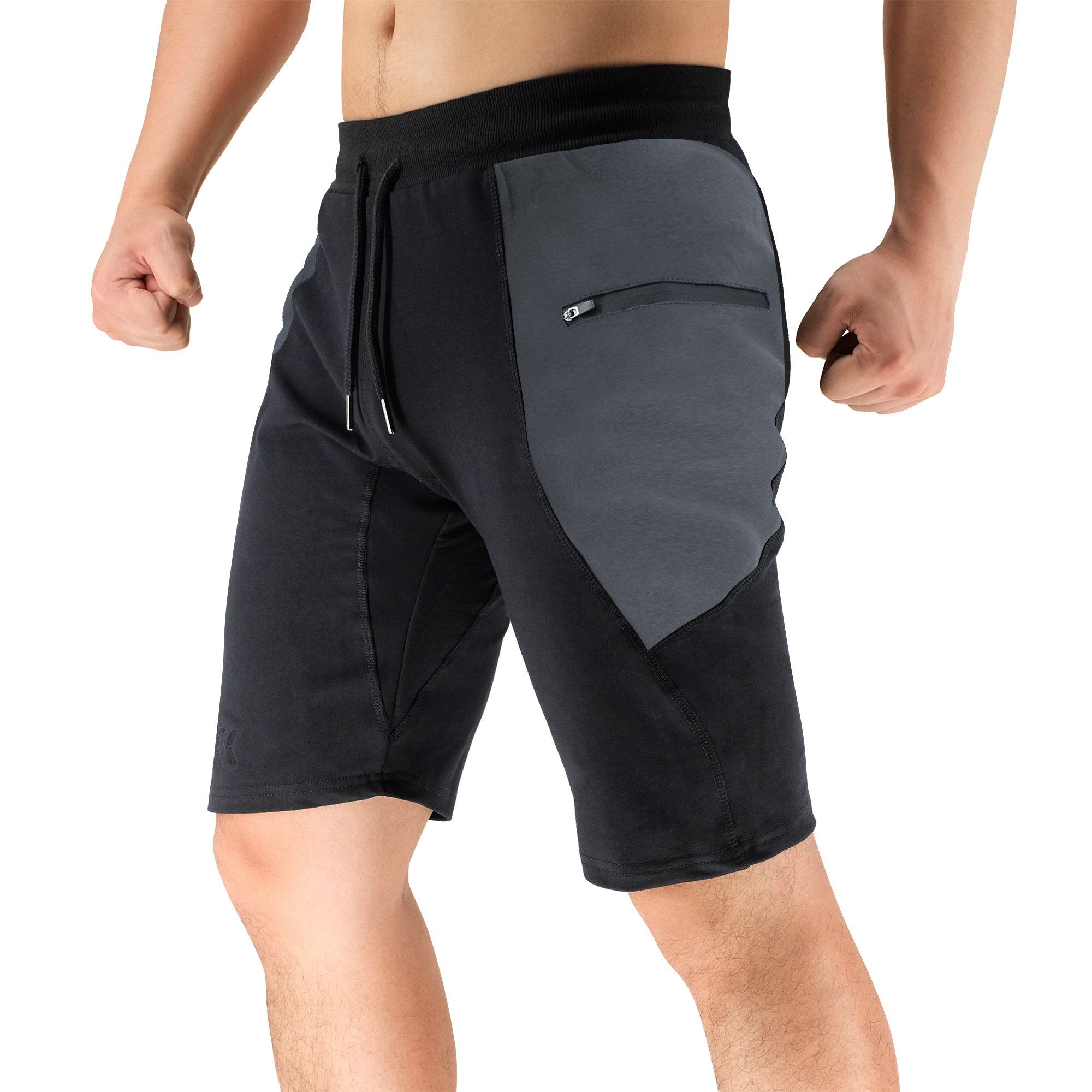 BROKIG Men's Sidelock Gym Workout Sport Shorts with Zipper Pockets (XXL-Large,Spliced Grey)
