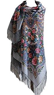 mit Seidenfransen Original gro/ß Lang Damen Russischer Pawlow Posad Schal Tuch Umschlagtuch 100/% Wolle hochwertige Stola sehr hohe Qualit/ät 125cm x 125cm mit Paisley und Blumen