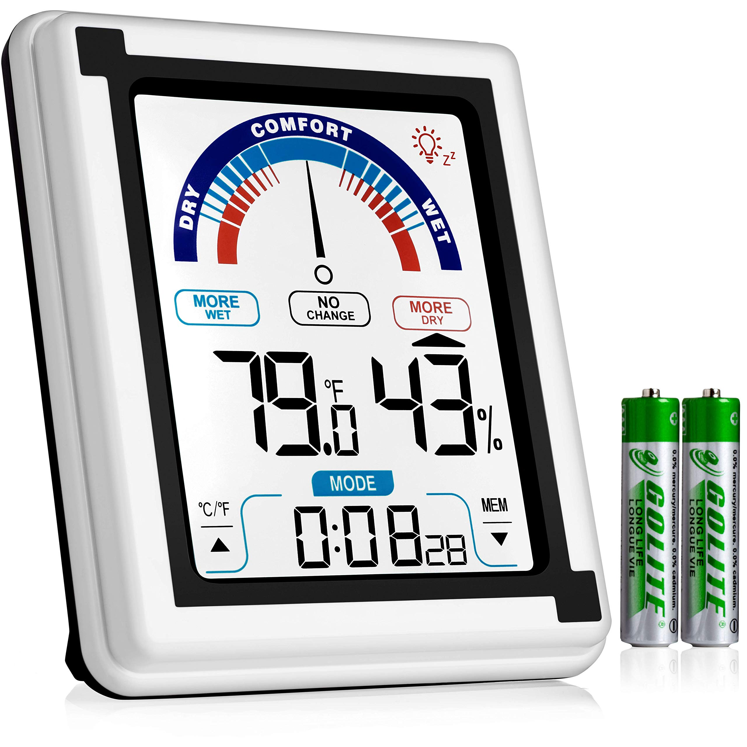 Eccostar High Accuracy Digital Hygrometer, Indoor Room Thermometer and Humidity Gauge Meter with Digital Alarm Clock, Large LCD Touchscreen with Backlight, Room Temperature Monitor by Eccostar