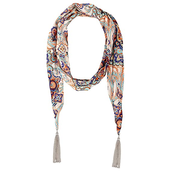 LERDU Women's Bohemia Polyester Floral Paisley Blend Print Scarves Fine Silver Tassel Scarf Necklaces