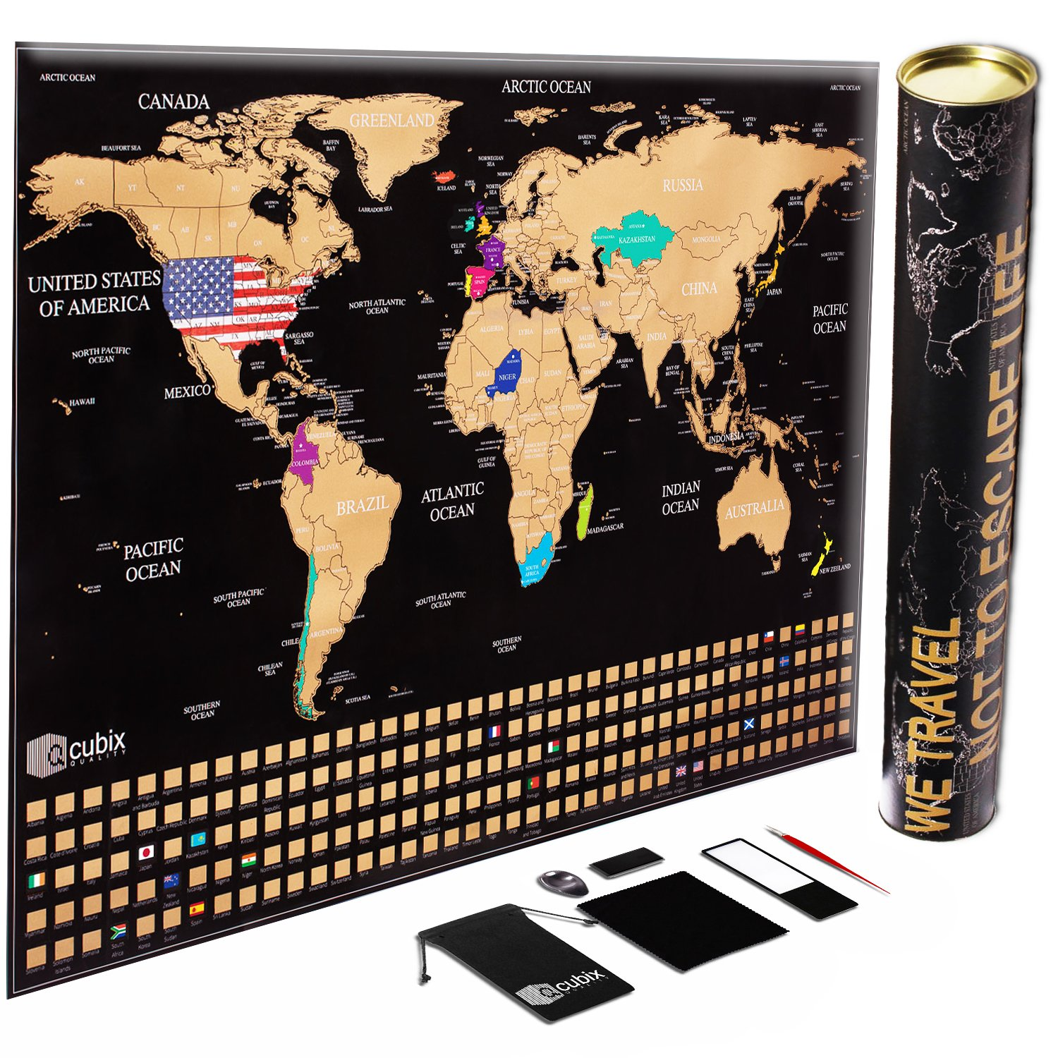 Amazon scratch off world map poster deluxe united states scratch off map of the world unique us flag edition large size scratch off world map poster us states outlined country flags includes tools and gumiabroncs Image collections