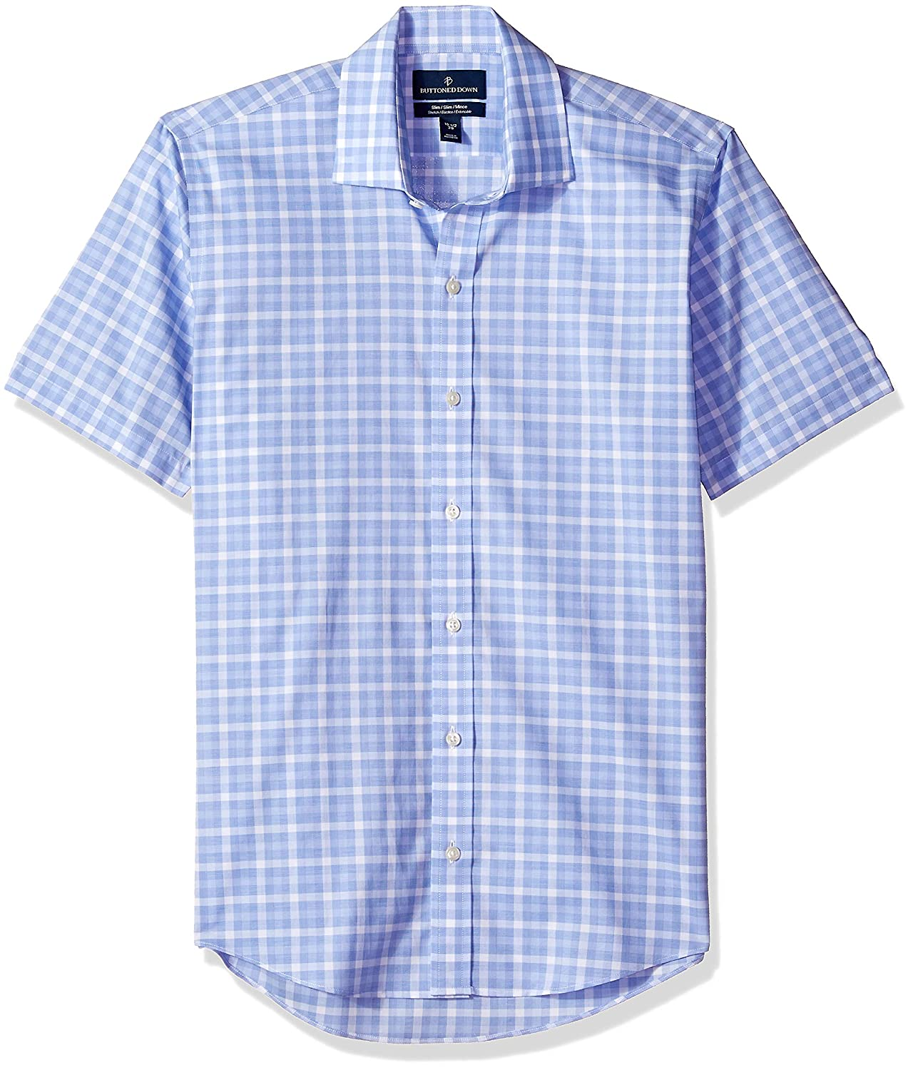 Brand BUTTONED DOWN Mens Slim Fit Spread-Collar Short-Sleeve Stretch Shirt Supima Cotton Non-Iron