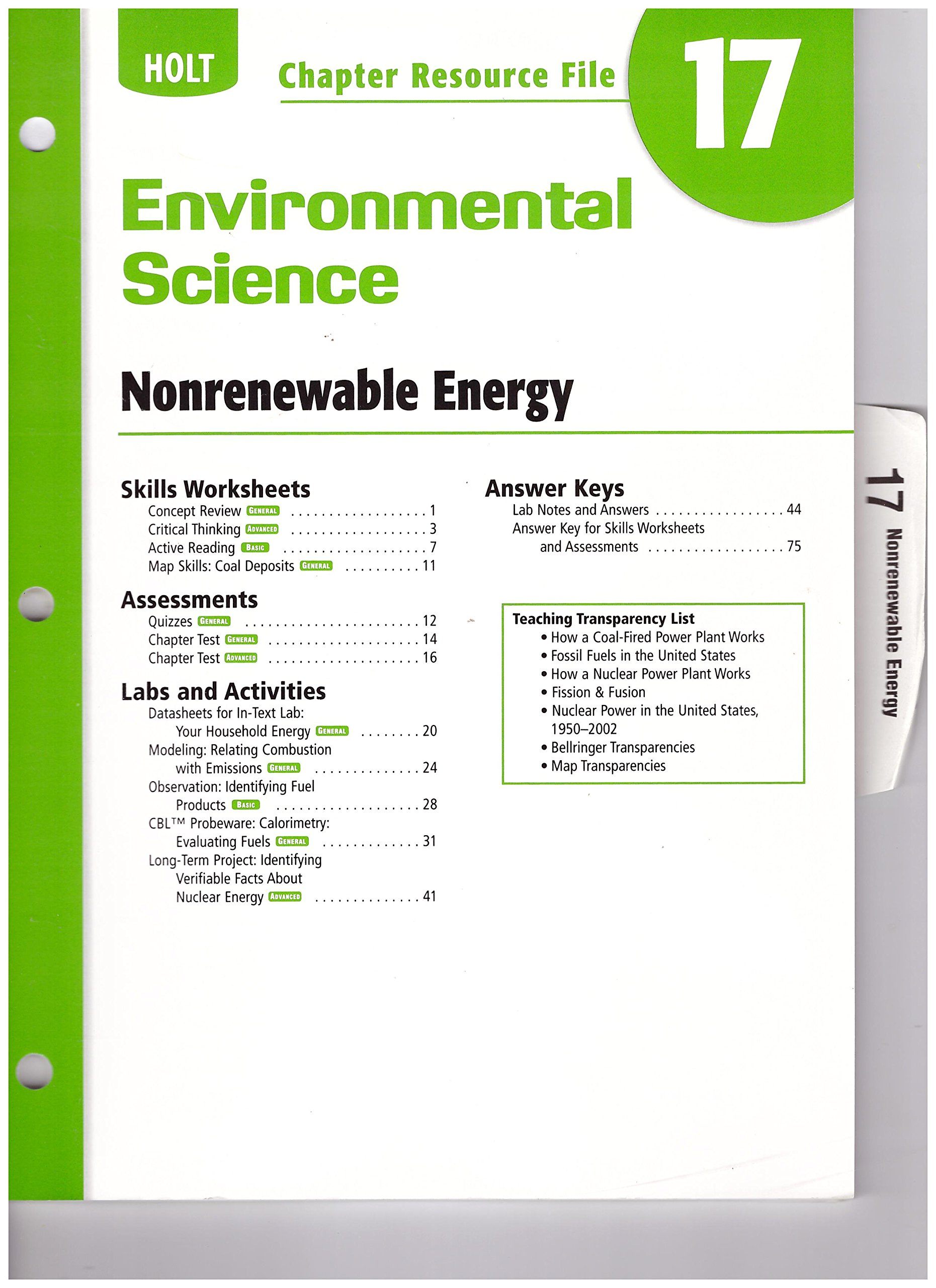 Buy Holt Environmental Science Resource File: Chapter 17