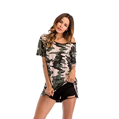 738cd7cdfd30d5 Women's Short Sleeves Camouflage Casual Camo Print Tee Shirt Tops ( Camouflage Green, ...