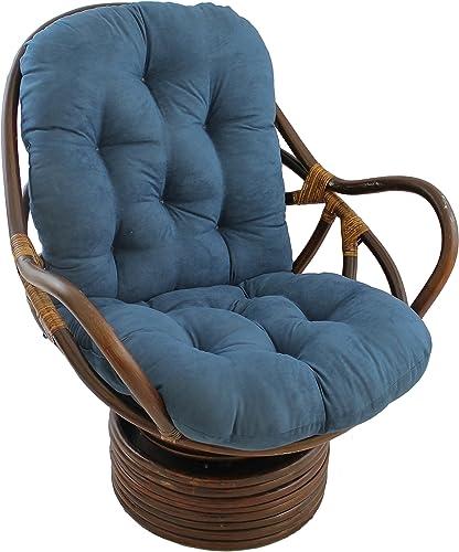 Blazing Needles Solid Microsuede Swivel Rocker Chair Cushion