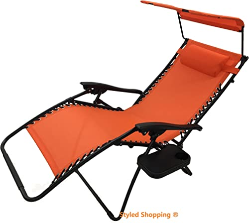 Deluxe Oversized Extra Large Zero Gravity Chair with Canopy Tray - Orange