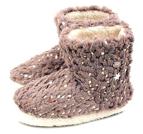 76c808a9efeb Amazon.com | Luckers Girls' Glitter Slipper Boots (7 Big Kid, Gray ...