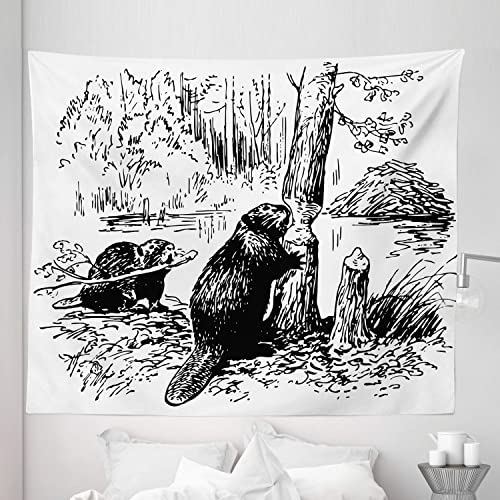 Lunarable Africa Tapestry King Size, Eurasian Beaver Furry Aquatic Mammal by The Creek in Forest Hand Drawn Style Image, Wall Hanging Bedspread Bed Cover Wall Decor, 104 X 88 , Black White