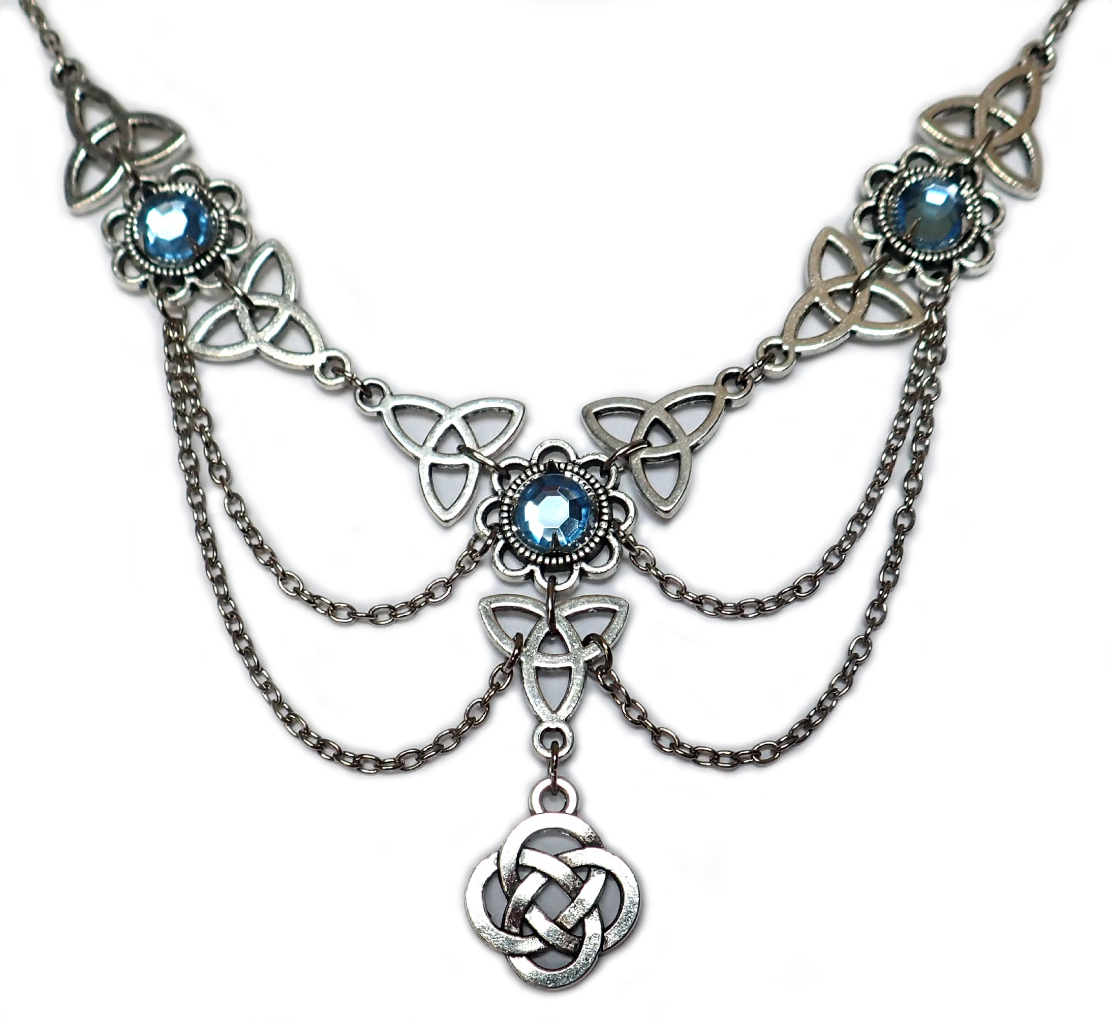 Celtic Triquetra Trinity Knot Silver Draping Chain Necklace Light Blue