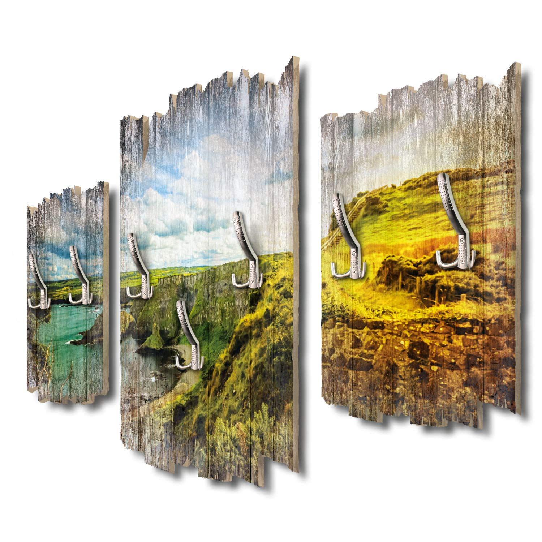 Kreative Feder Küste Irland Designer Wandgarderobe Flurgarderobe Wandpaneele 95 x 60 cm aus MDF-Holz DTGH018