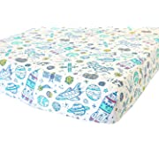 100% Organic Cotton Fitted Crib Sheet by ADDISON BELLE - Premium Baby Bedding - Soft, Breathable & Durable (Crib Sheets Boy - Space)