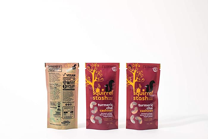 Maple Turmeric Chai Nuts by Squirrel Stash - Roasted and glazed a blend of organic inflamation fighting ingredients in Vermont maple syrup in compostable packaging - Cashews- 3-PACK 3oz x3 - 9oz total
