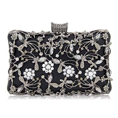 e98d11b703 LUI SUI Women Luxury Crystal Beaded Evening Bag Rhinestone Wedding Party  Clutch Purse: Handbags: Amazon.com