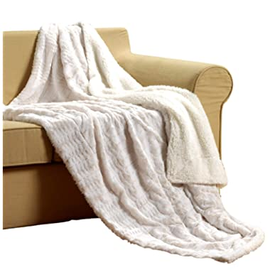 Tache White Ivory Super Soft Warm Polar Faux Fur with Sherpa Throw Bed Blanket Queen Size 90 x 90