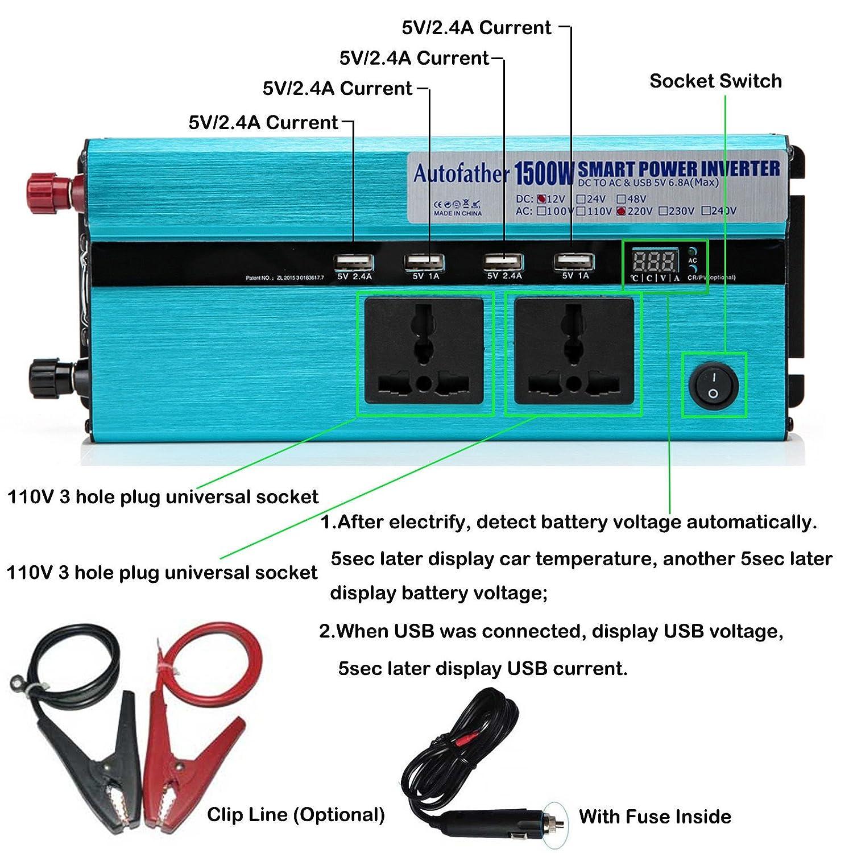 Bowose 1500W Watt Power Inverter with Digital Display DC 12V to AC ...