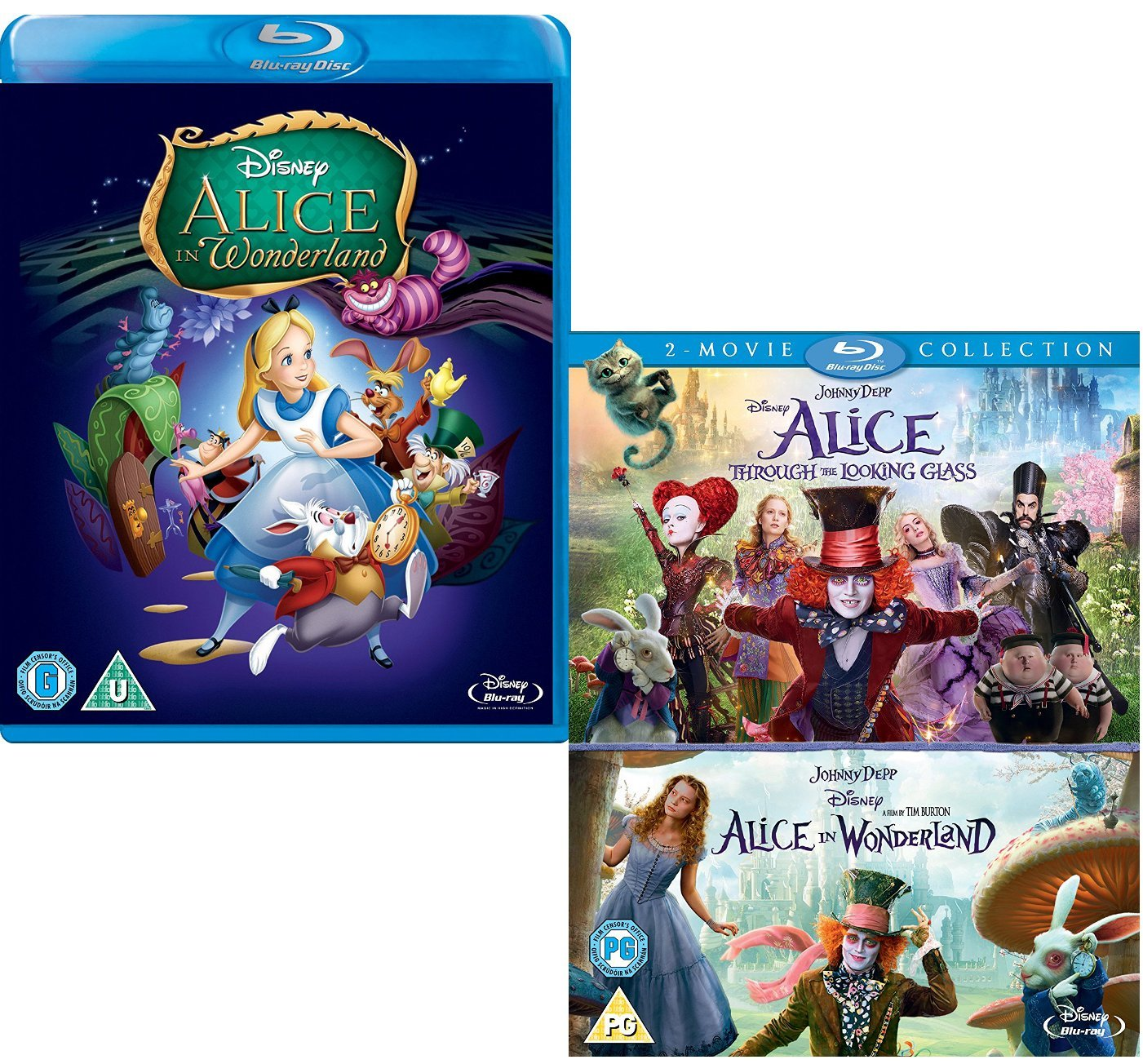 Alice In Wonderland (Animated) - Alice in Wonderland / .. Through The Looking Glass (Complete Collection Box-Set) - Walt Disney 2 Movie Bundling Blu-ray