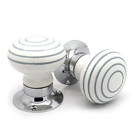 Pushka Home Pair Of Ceramic Grey Striped White Internal Spring