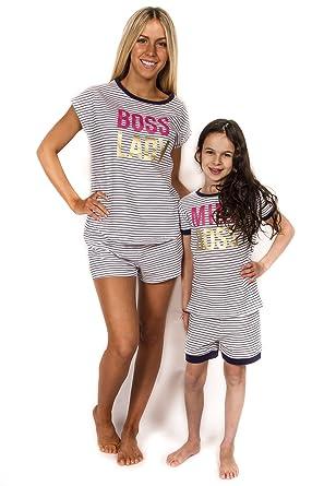 Peace Love   Dreams Mommy   Me Matching Boss Pajamas – Navy Stripe (Girl de78904a4