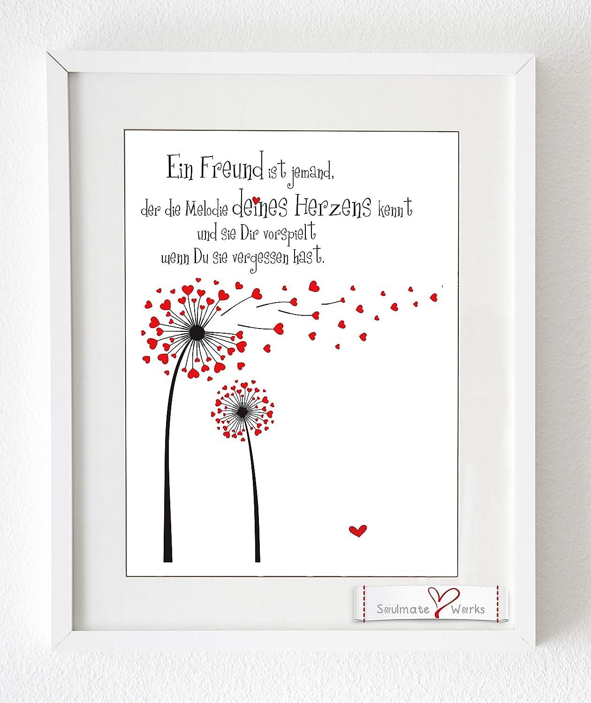 Kunstdruck mit roten Herzen'Ein Freund ist jemand.' (nur Druck - ohne Rahmen)