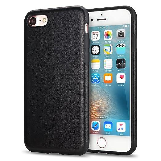15 opinioni per TENDLIN Cover iPhone 7 Pelle Ibrida Silicone TPU Flessibile Custodia (Nero)