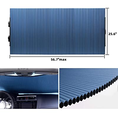 "Retractable Windshield Sun Shade for Car, Cordless Cellular Sun Visor Protector Blocks 99% UV Rays to Keep The Vehicle Cool, Honeycomb Sunshade Fits Various Models with 3 Suction Cups 25.6""x 56.7""max: Automotive"