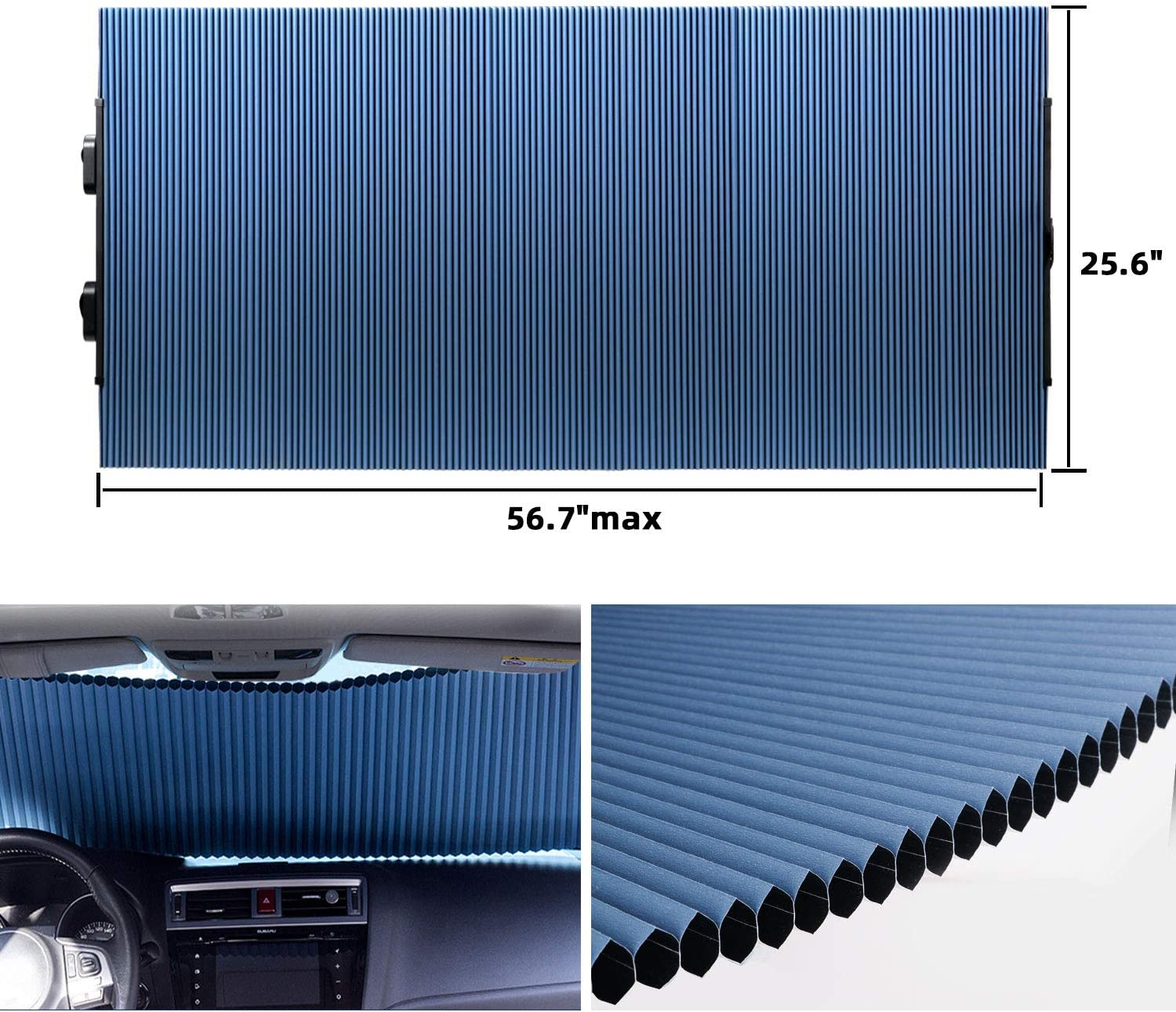Retractable Windshield Sun Shade for Car, Cordless Cellular Sun Visor Protector Blocks 99% UV Rays to Keep The Vehicle Cool, Honeycomb Sunshade Fits Various Models with 3 Suction Cups 25.6