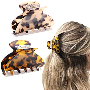 2PCS Medium Hair Claw Clips Tortoise Shell Celluloid Handmade Hair Clamps Non Slip Grip Jaw Clips for Women