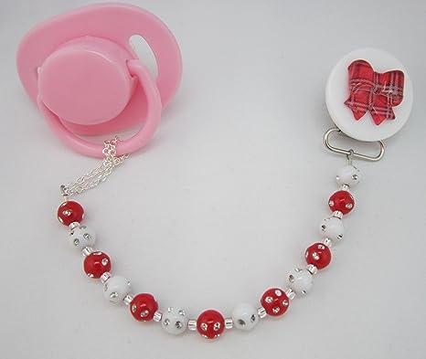Cristal sueño elegante rojo y blanco Mini perlas hecho a ...