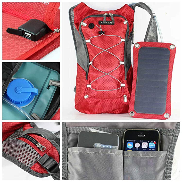 ECEEN Hydration Solar Backpack 7 Watts Solar Panel Charger with 2L Bladder Bag For Biking Charging Mobile Phones, Tablets, Smartphones Etc