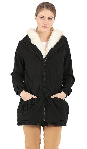 Wenseny Womens Coat Thicken Warm Winter Hooded Faux Fur Parka Jacket Outwear Black Large