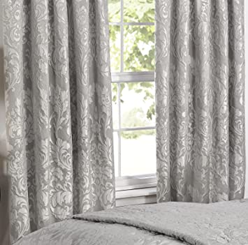 Marston Damask Ready Made Lined Pencil Pleat Curtains 66