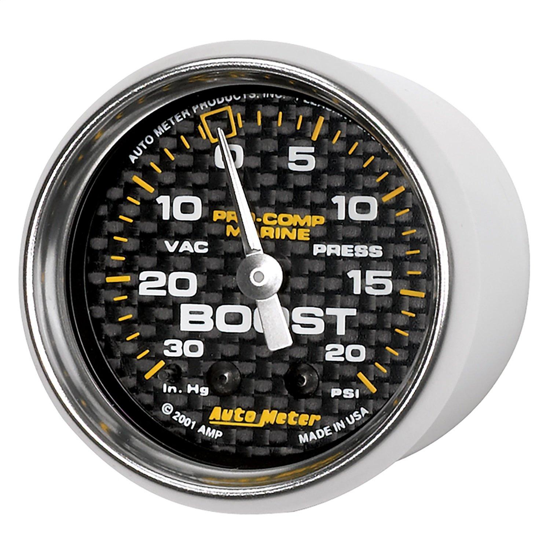 Auto Meter AutoMeter 200774-40 Gauge, Vac/Boost, 2 1/16'', 30Inhg-20Psi, Mechanical, Marine Carbon Fiber by Auto Meter