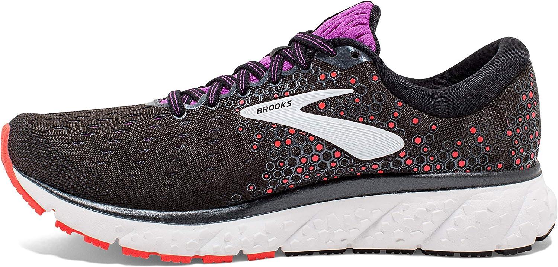 Brooks Women's Glycerin 17 Running Shoe Black Fiery Coral Purple