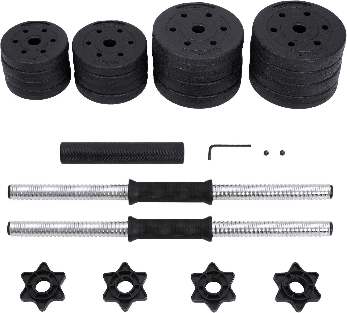 30 kg Poids Ajustable SONGMICS Kit halt/ères Musculation 20 kg avec Barre d/'Extension suppl/émentaire Musculation