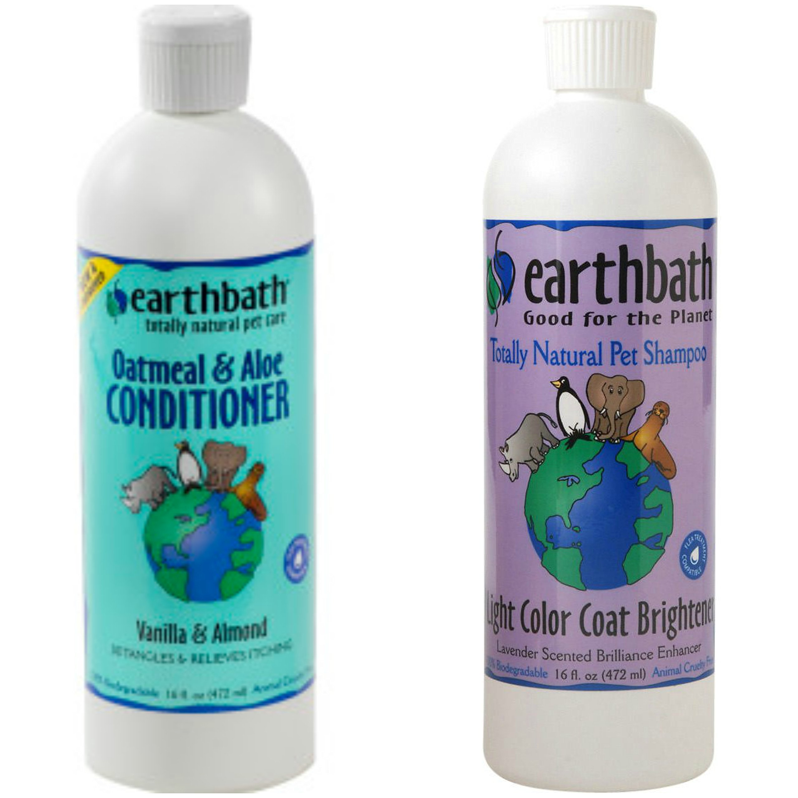 Earthbath Light Color Coat Brightener Shampoo for Dogs and Cats, Lavender Scent, 16 oz, and Earthbath Oatmeal and Aloe Conditioner for Dogs and Cats, Vanilla and Almond Scent,16 oz by Earthbath