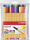 STABILO Point 88 Fineliner - Assorted Colours, Wallet of 30 (Include 5 Neon Colours)